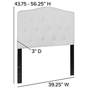 "Flash Furniture HERCULES Series Twin Headboard Fabric, 39.25""W x 3""D x 43.75"" - 56.25""H, White (HGHB1708TW)"