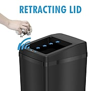 iTouchless Stainless Steel Sliding Lid Sensor Trash Can with AbsorbX Odor Control System, 14 Gal., Black (IT14SB)