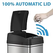 iTouchless Stainless Steel Sensor Trash Can with AbsorbX Odor Control System, Silver, 13 gal. (DZT13)