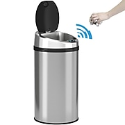 iTouchless Stainless Steel Round Sensor Trash Can with AbsorbX Odor Control System, 8 Gal., Silver (IT08RCB)