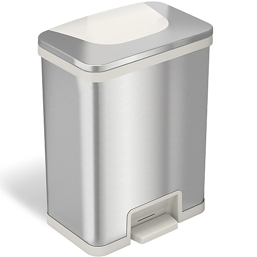 Halo Tapcan Stainless Steel Rectangular Pedal Sensor Trash Can With Absorbx Odor Control System White Trim 13 Gal Tc13sw Staples