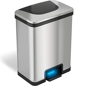 halo TapCan Stainless Steel Rectangular Pedal Sensor Trash Can with AbsorbX Odor Control System, Black Trim, 13 Gal. (TC13SB)