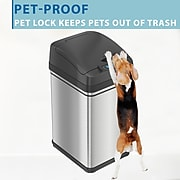 iTouchless Stainless Steel Sensor Trash Can with Locking Lid and AbsorbX Odor Control, Silver, 8 gal. (DZT08PL)