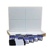 Flipside XY Axis Two-Sided Dry-Erase Board, Pen, and Eraser Set, 0.75' x 1', White/Blue, 12/Pack (19000)