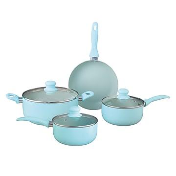 Brentwood Appliances Aluminum (Silver) Non-Stick Cookware Set, Blue, 7 Pieces (BPS-207BL),Size: small