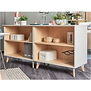 """Safco Resi 33.74"""" Storage Cabinet with Two Shelves, White/Maple (RESCAB36WH)"""