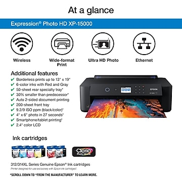 """Epson Expression® Photo HD XP-15000 Wireless Wide-format Printer, prints up to 13"""" x 19"""""""