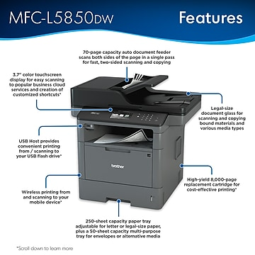 Brother MFC-L5850DW Monochrome Laser Printer All-In-One with Wireless, Network Ready and USB