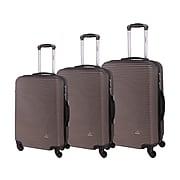 InUSA Royal 3-Piece Plastic Luggage Set, Brown (IUROYSML-BRO)