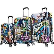 InUSA Prints 3-Piece PC/ABS Plastic Luggage Set, Cities (IUAPCSML-HMV)
