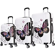 InUSA Prints 3-Piece PC/ABS Plastic Luggage Set, Butterfly (IUAPCSML-BUT)