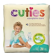 Cuties Premium Jumbo Diapers, Size 4, 124/PK (CR4001)