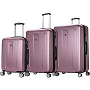 DUKAP CRYPTO 3-Piece PC/ABS Plastic Luggage Set, Rose Gold (DKCRYSML-ROS)