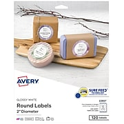"""Avery Printable Laser/Inkjet Round Labels with Sure Feed, 2"""" Diameter, Glossy White, 120 Labels Per Pack (22807)"""