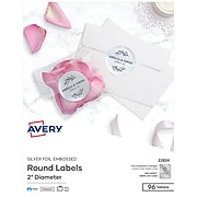 """Avery Printable Embossed Foil Round Labels, 2"""" Diameter, Silver, 96 Customizable Labels/Pack  (22824)"""