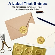 """Avery Printable Embossed Foil Round Labels, 2"""" Diameter, Gold, 96 Customizable Labels/Pack (22831)"""