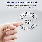 """Avery Printable Laser/Inkjet Round Labels with Sure Feed, 2"""" Diameter, Glossy Clear, 120 Labels Per Pack (22825)"""