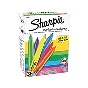 Sharpie Stick Highlighters, Narrow Chisel Tip, Assorted Inks, 36/Box (2133497)