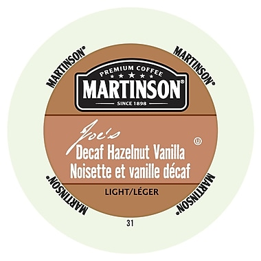 Martinson Coffee Joe's Hazelnut Vanilla Decaf, RealCup portion pack for Keurig K-Cup Brewers, 24 Count (4320210)