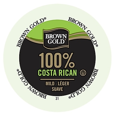 Brown Gold Coffee 100 Costa Rican Realcup Portion Pack For Keurig K Cup