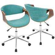Lumisource Curvo Mid-Century Modern Office Chair in Walnut & Cream (OFC-CURVO WL+CR)