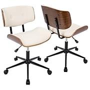 Lumisource Lombardi Height Adjustable Office Mid-Century Modern Chair in Walnut & Cream (OC-JY-LMB WL+CR)