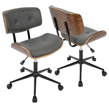 Lumisource Lombardi Height Adjustable Office Mid-Century Modern Chair in Walnut & Grey (OC-JY-LMB WL+GY)