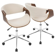 Lumisource Curvo Mid-Century Modern Office Chair in Walnut and Cream (OFC-CURVO WL+CR)