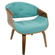 LumiSource Curvo Mid-Century Modern Accent Chair in Walnut and Teal Fabric (CH-CRVTFT WL+TL)