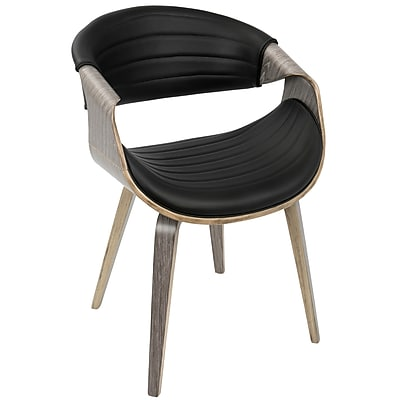 LumiSource Symphony Mid-Century Modern Dining / Accent Chair in Walnut Wood and Black PU (CH-SYMP LGY+BK)