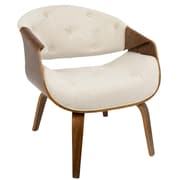 LumiSource Curvo Mid-Century Modern Accent Chair in Walnut and Cream Fabric (CH-CRVTFT WL+CR)