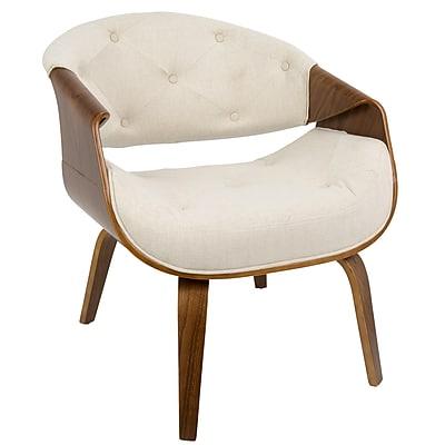 LumiSource Curvo Mid-Century Modern Accent Chair in Walnut and Cream Fabric (CH-CRVTFT WL+CR)