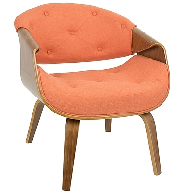 LumiSource Curvo Mid-Century Modern Accent Chair in Walnut and Orange Fabric (CH-CRVTFT WL+O)
