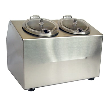 Steril-Sil Condiment Dispenser, Countertop, 2-Hole, Includes Containers and Lids, Stainless Steel (CC-LTC-2SW)