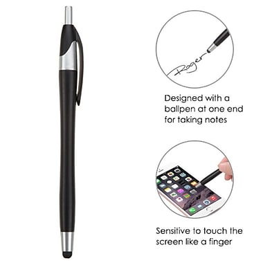 Insten Black Stylus Touch Screen Pen-76 (with Ballpoint Pen) For iPad Pro Mini Air 1 2 iPhone 6/6s + Smartphone Tablet