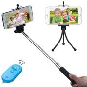 Insten Wireless 3-In-1 Mobile Phone Camera Monopod + Tripod Stand + Blue/Tropical Remote Shutter for Mobile Phone Camera