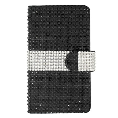 Insten Wallet Leather Diamond Case with Card slot For LG Tribute - Black/Silver