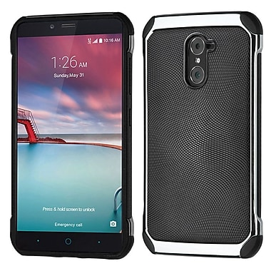 Insten Leather Hybrid Fabric TPU Case For ZTE Grand X Max 2 / Imperial Max / Kirk / Max Duo 4G - Black/Silver