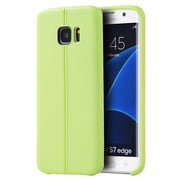 Insten Slim Jacket Leather Look Finish TPU Rubber Skin Gel Case Cover For Samsung Galaxy S7 Edge - Green