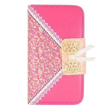 Insten Flip Wallet Leather Case with Stand & Card slot For LG Tribute - Hot Pink/Gold