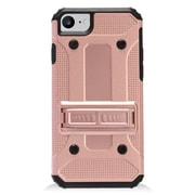 Insten Dual Layer WC8 Hybrid Hard TPU Rubber Shockproof Stand Case Cover For Apple iPhone 7/ 8, Rose Gold/Black