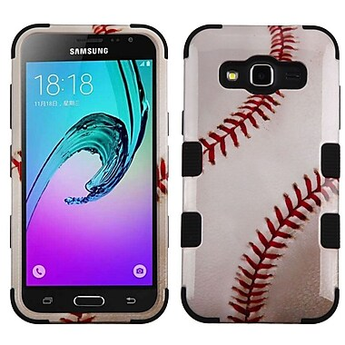 Insten Tuff Baseball Hard Hybrid Rubber Coated Case For Samsung Galaxy Amp Prime/Express Prime/Sky/Sol - White/Red