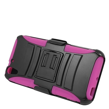 Insten Hard Hybrid Plastic Silicone Stand Case with Holster For HTC Desire Eye - Black/Hot Pink