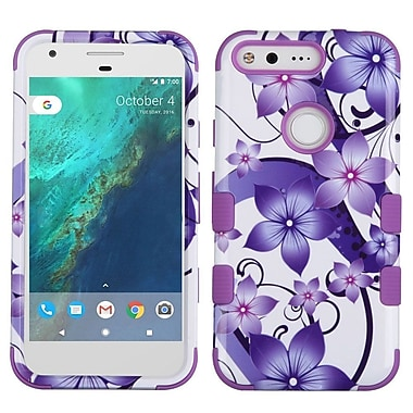 Insten Tuff Hibiscus Flower Romance Hard Dual Layer Silicone Case For Google Pixel - Purple/White