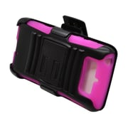 Insten Advanced Armor Dual Layer Hybrid Stand PC/Silicone Holster Case Cover for Motorola Droid Mini - Black/Hot Pink