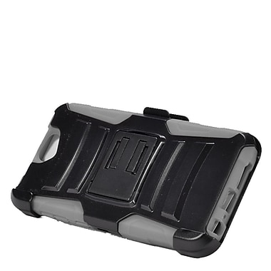 Insten Hard Dual Layer Plastic Silicone Stand Case with Holster For HTC One A9 - Black/Gray