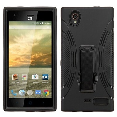 Insten Symbiosis Soft Dual Layer Rubber Hard Cover Case w/stand For ZTE Warp Elite - Black