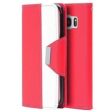 Insten Princesa Wristlet Pouch Leather Wallet Credit Card Stand Case Cover For Samsung Galaxy S7 Edge - Red/White