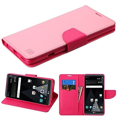 Insten Flip Leather Fabric Cover Case w/stand/card holder For LG V20 - Pink