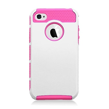 Insten Dual Layer Hybrid TPU Rubber Candy Skin Case Cover for Apple iPhone 4 / 4S - White/Hot Pink